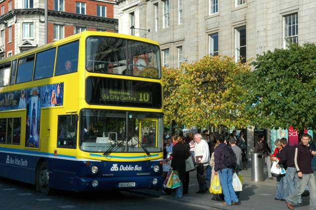 DUB Dublin - bus stop in front of Clerys department store on O Connell Street 3008x2000